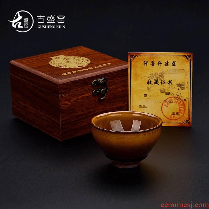 Ancient sheng up new koubei authentic jianyang lemon to build one single ceramic cup master cup partridge spot oil tea light