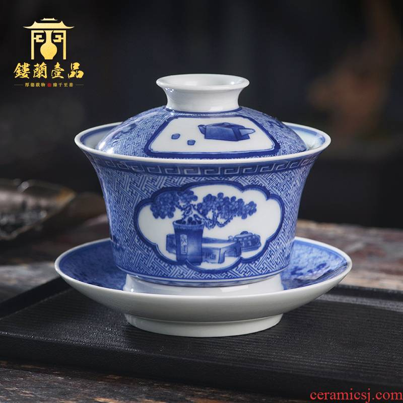Jingdezhen ceramic blue and white komen figure hand - made all three bottle tureen tea bowl with cover only a single kunfu tea