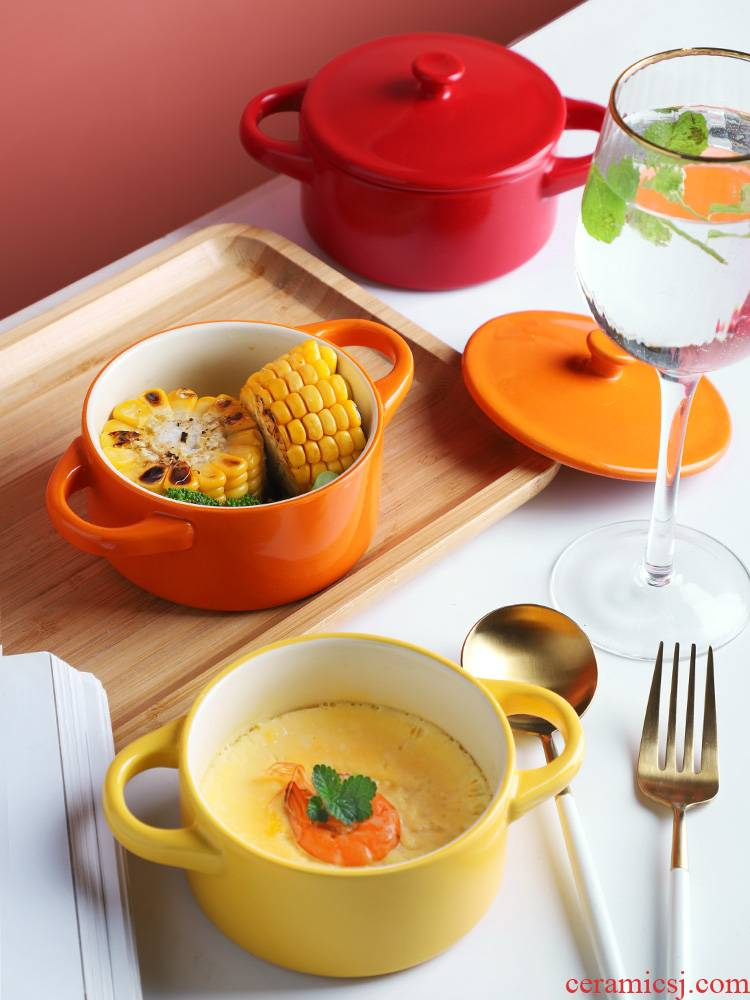 Steamed chicken custard bowl with cover ears ceramics high temperature resistant baby baby small Steamed egg stew water bowl side dish bowl bowl