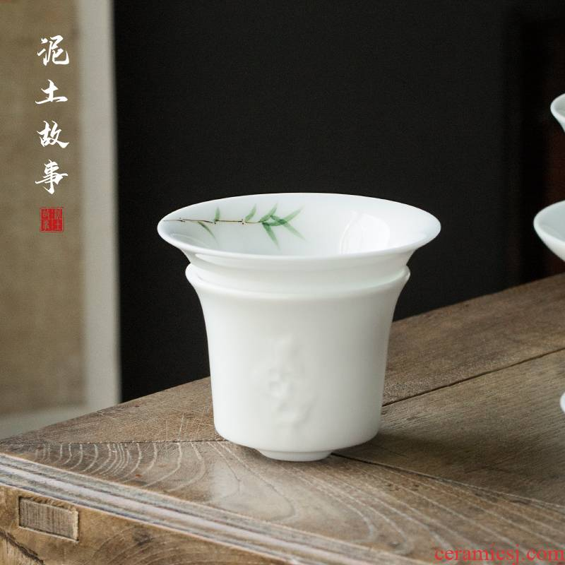 Earth story of pure hand - made bamboo tea jingdezhen manual under glaze color porcelain filtration kung fu tea spare parts