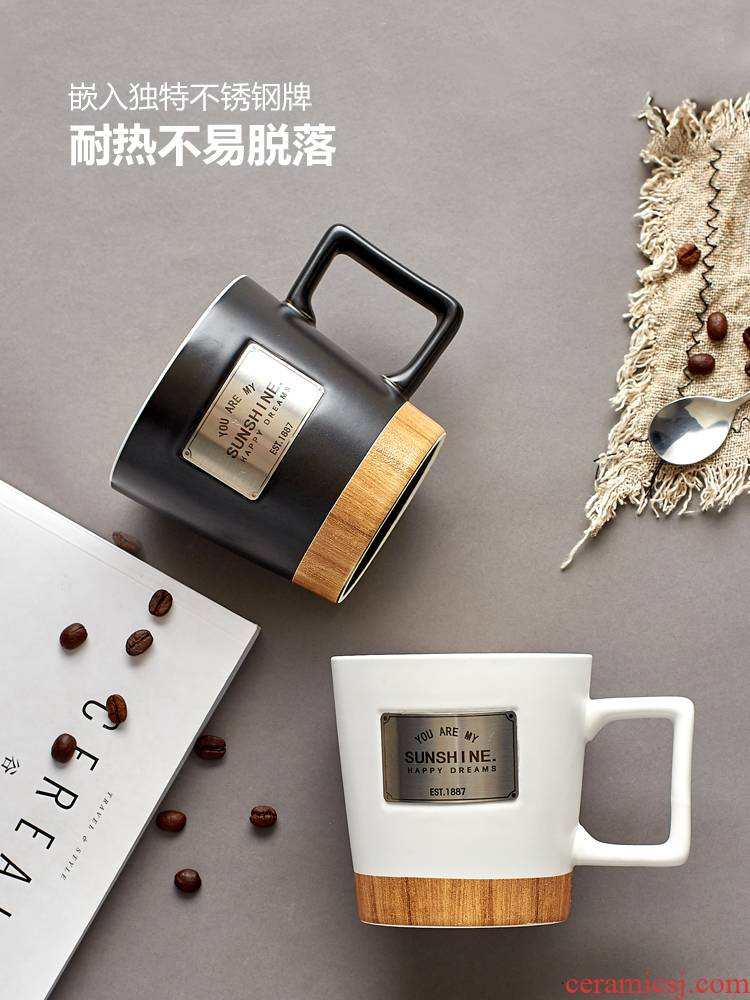 Contracted coffee cup keller large capacity water cup a cup of milk for breakfast cup of creative move wood spoon ceramic cup