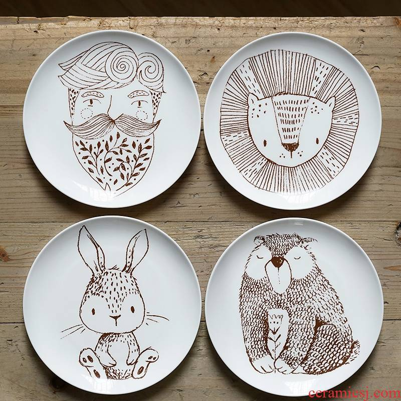 Qiao mu LH Nordic high ipads porcelain plates 8 inch breakfast tray cake plate flat ceramic uncle brown bear express lion