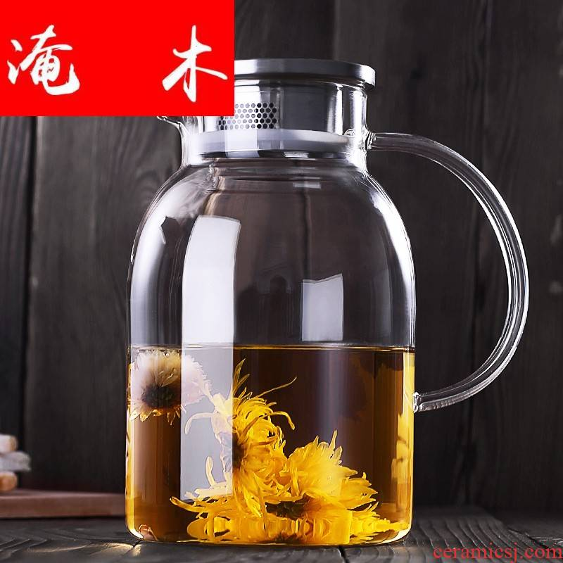 Submerged wood teapot large glass tea set household heat resisting high temperature filtration electric TaoLu boiled tea kettle