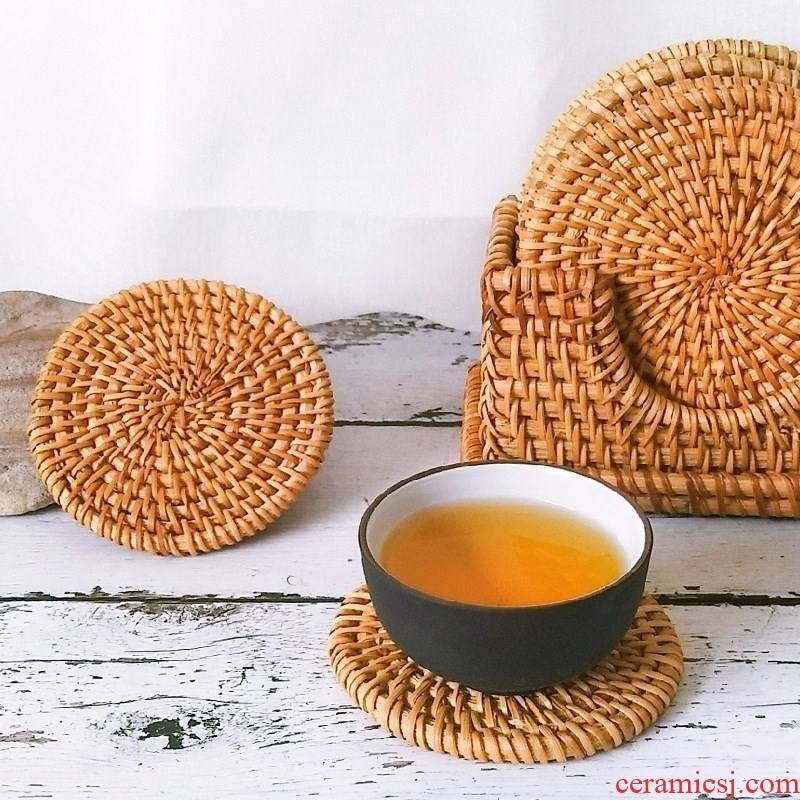 Old autumn scene filled the cane top service up the cup pad purple sand pot pad insulation pad iron bowl mat mat pot cup eat mat hot insulation