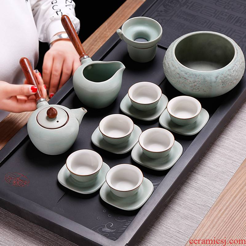 Japanese side small pot of kung fu tea set of household ceramic teapot teacup 6 box office to restore ancient ways