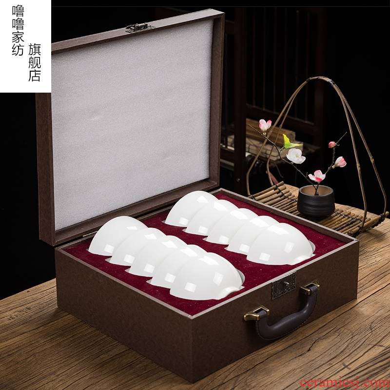 Suet jade bowls plate suit to use household tableware light key-2 luxury Nordic web celebrity dehua white porcelain bowl combination of high - grade