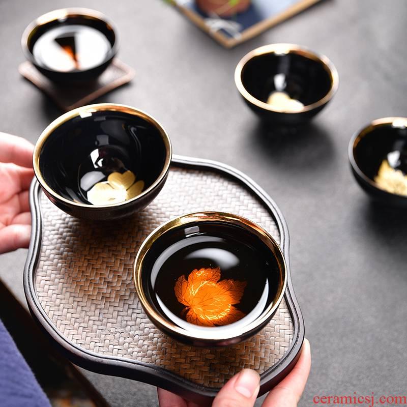 Tasted silver gilding variable glaze masters cup kung fu tea set tea tray was purple sand teapot teacup ceramic sample tea cup