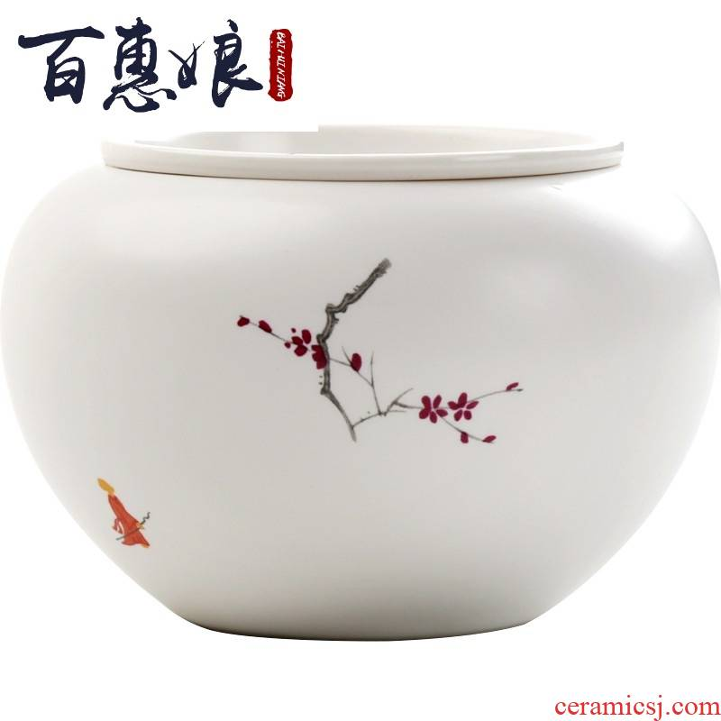 (through the snow niang mei ceramics found built water in hot tea to wash to the trumpet with cover dou fang water jar washing dry tea