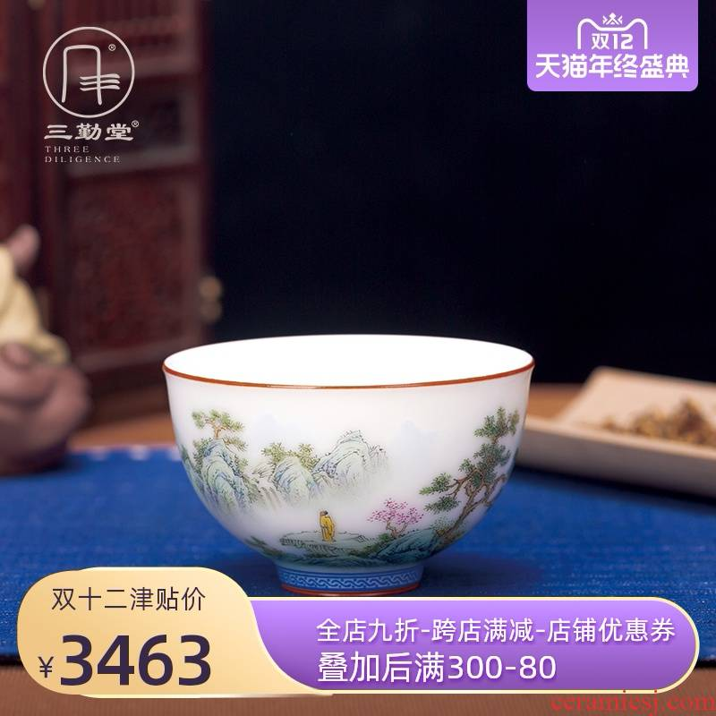 Three frequently hall jingdezhen your up ancient color landscape xieyi painting master pu cups kung fu tea cup single CPU