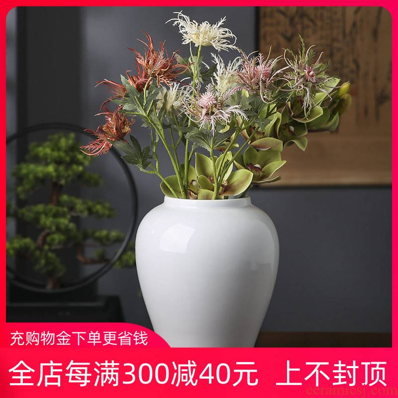 General jingdezhen ceramic pot vase is placed between white dry flower arrangement sitting room adornment of new Chinese style porch example