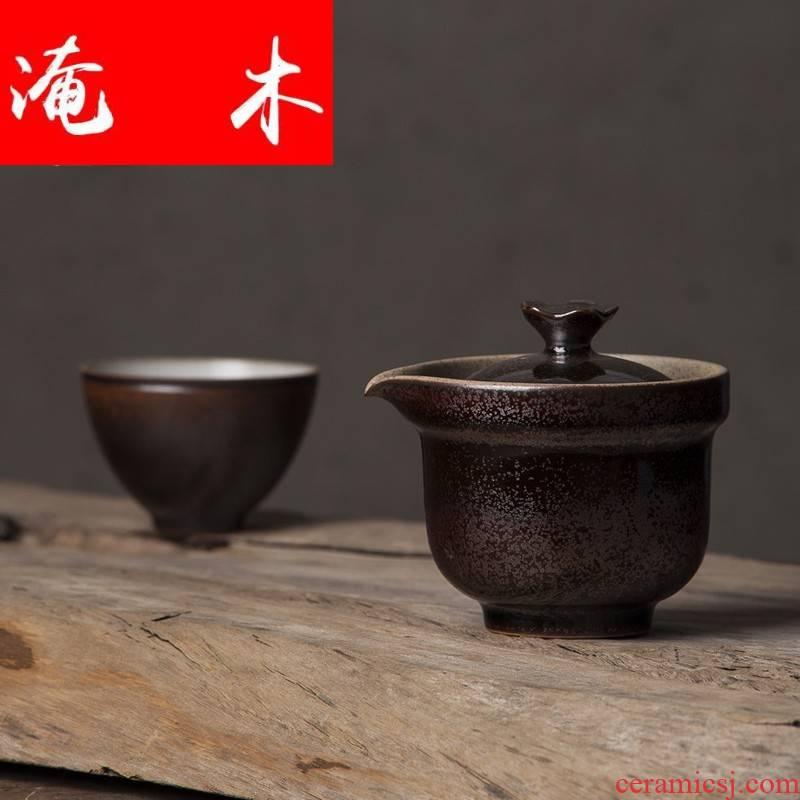 Submerged wood tea garden coarse pottery hand grasp pot tureen up ceramic kung fu tea pot large crack cup