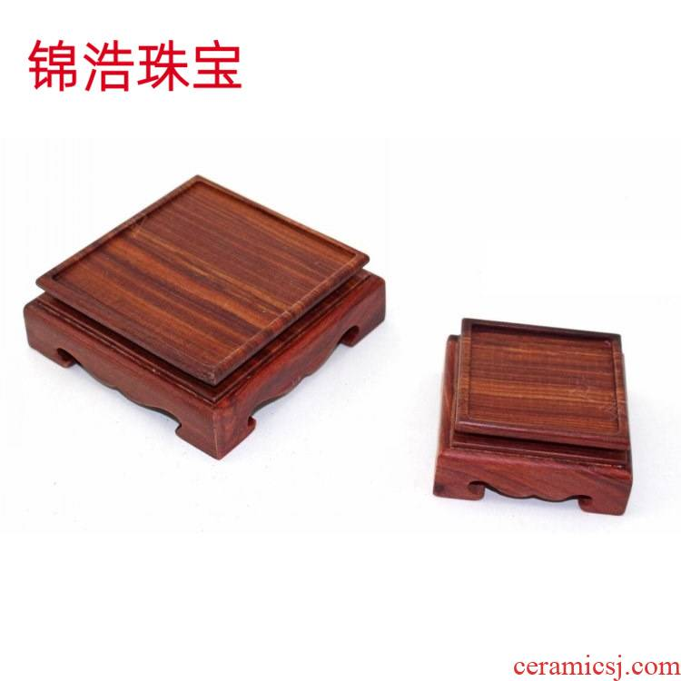 Solid wood base square seal decree wooden stamp furnishing articles of handicraft hand put a jade stone, wooden base