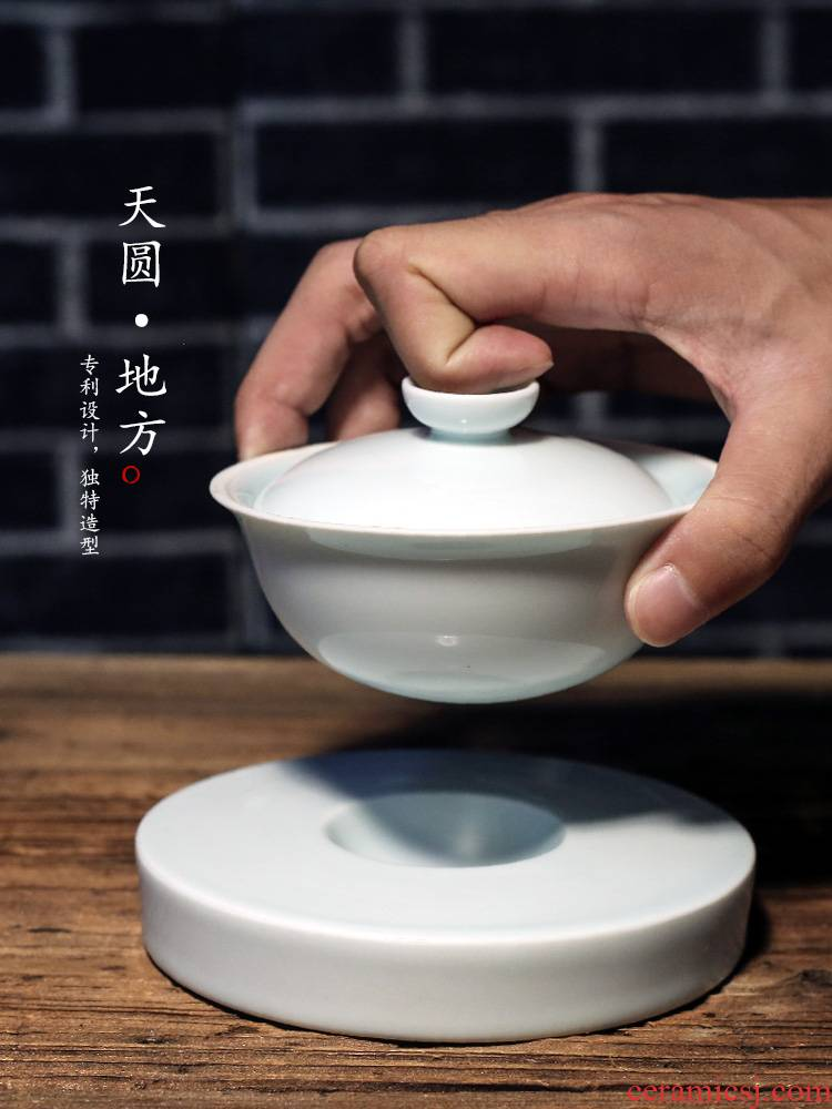 Jingdezhen three tureen ceramic cups kung fu bowl is only a single hot large checking tea tea set