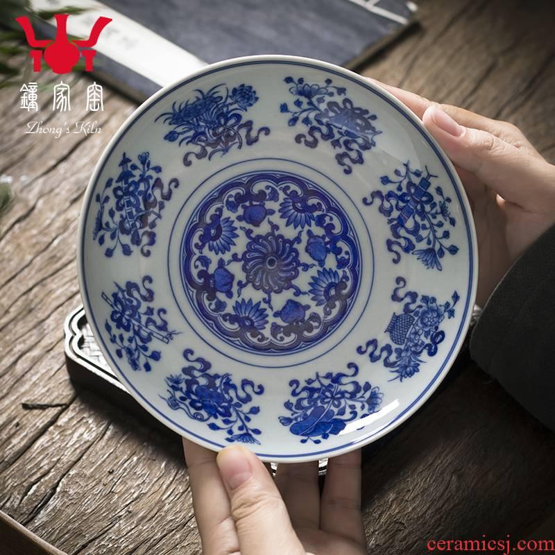 Clock home up ceramic round tea tray household tray was jingdezhen porcelain maintain kung fu tea tea tea saucer