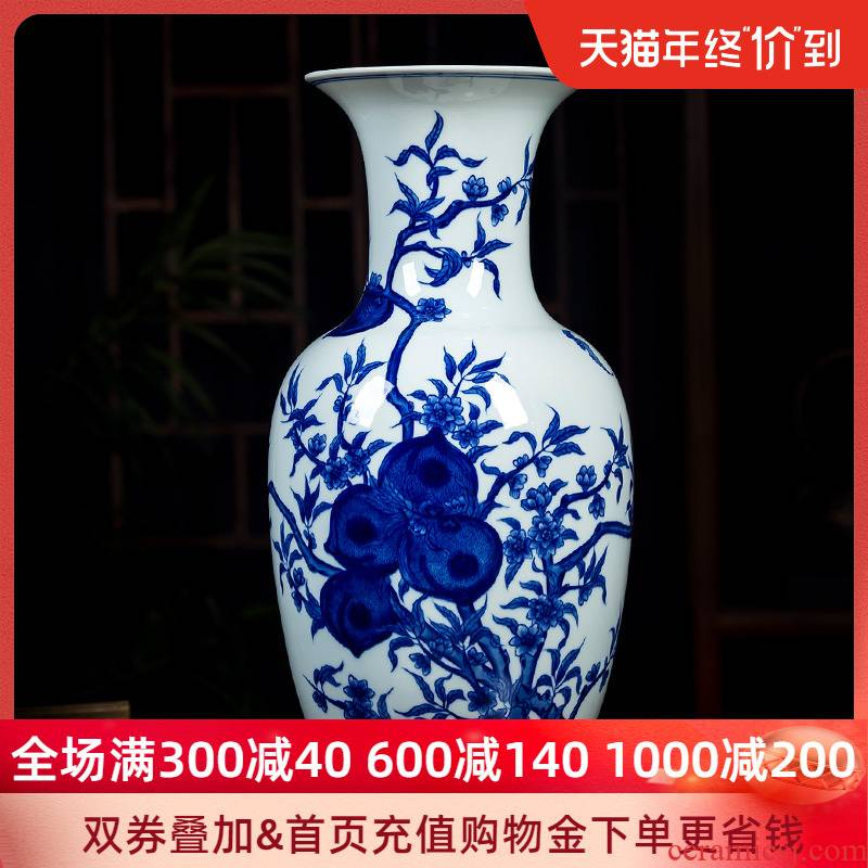 Under the jingdezhen ceramics glaze color blue and white porcelain vase peach hand - made big Chinese sitting room adornment is placed