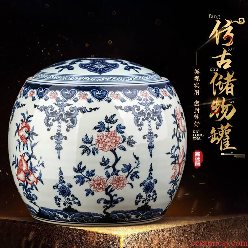 Hand - made of blue and white porcelain of jingdezhen ceramics storage as cans accessories archaize large with cover pu 'er tea pot furnishing articles