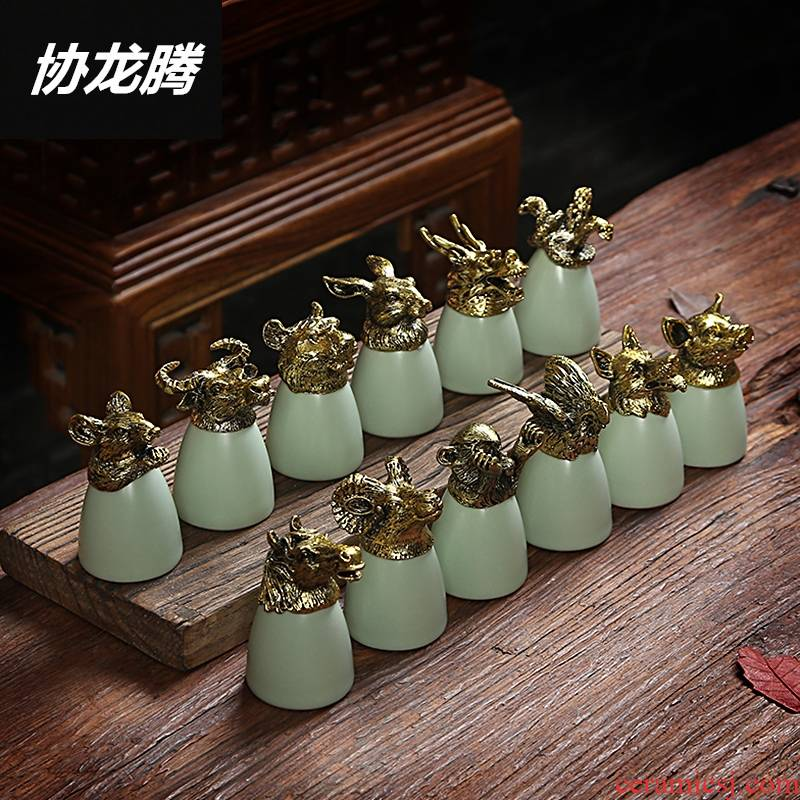 Qiao mu Chinese zodiac animal heads ceramic glass cup your up ceramic suit liquor liquor cup wine