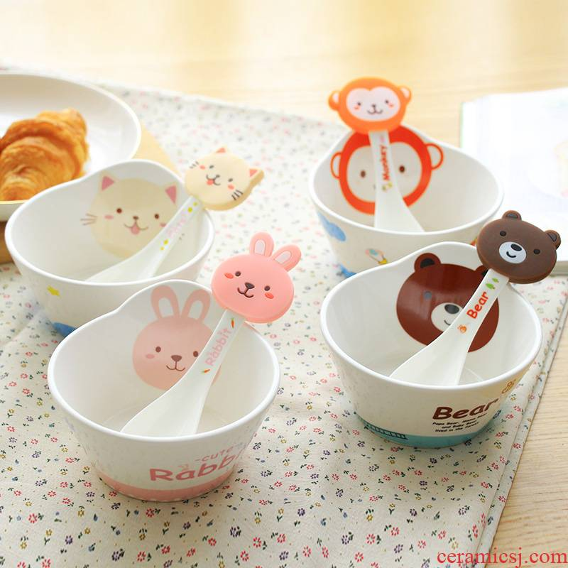 Working Fine club goods and lovely cartoon children ceramic bowl, small bowl of soup bowl creative household tableware suit the baby to eat bread and butter