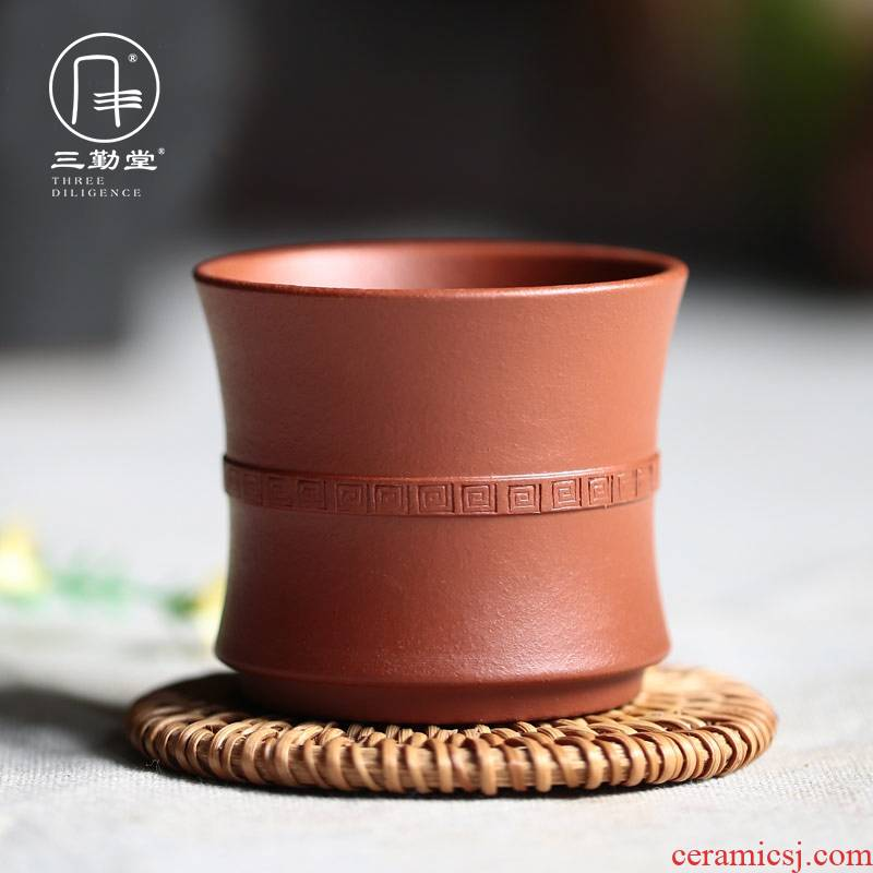 Three frequently hall noggin purple sand cup sample tea cup yixing famous ore colored soil kung fu tea set by hand