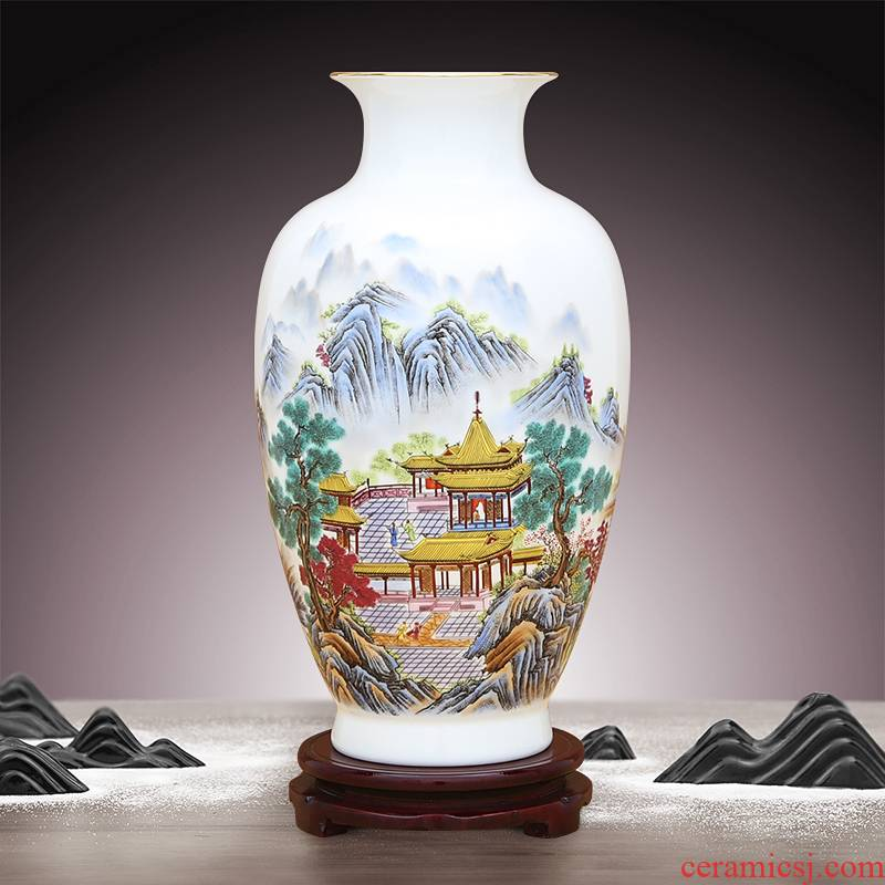 To ceramics high white transparent thin foetus enamel paint mountain yu LouTing vase