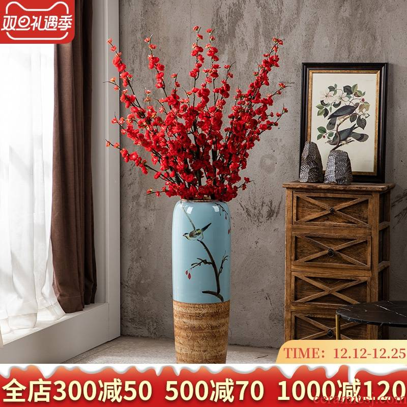 Ground vase large - sized ceramic new Chinese style household I and contracted sitting room simulation flower restoring ancient ways suit furnishing articles