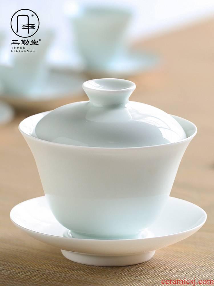 The three regular white porcelain tureen jingdezhen ceramic cups S11018 kung fu tea set three to make tea cup large bowl