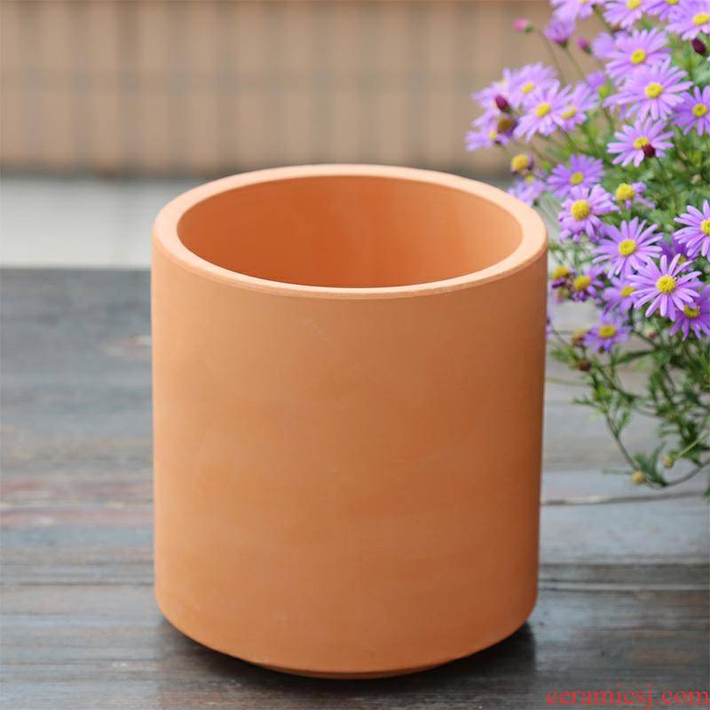 A clearance straight red pot fleshy flower pot in coarse pottery contracted clay ceramic money plant orchid basin special package mail