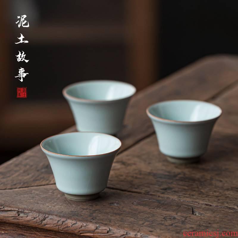 Your up with azure single master cup ceramic cups can keep open piece of kunfu tea light ice crack glaze built sample tea cup