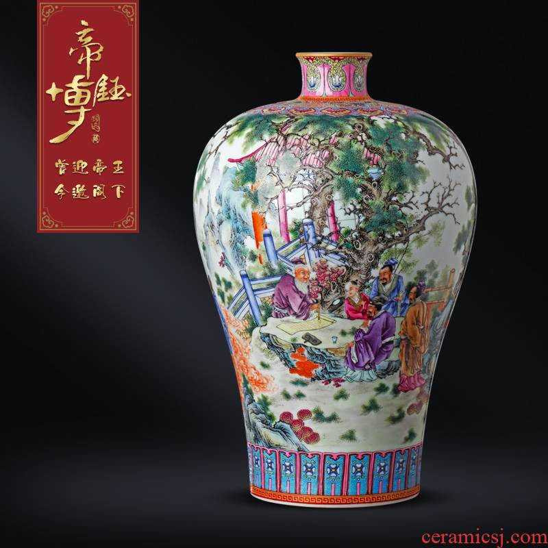 Jingdezhen ceramics antique hand - made pastel prosperous life of take an examination of figure mei bottles of Chinese style living room porch TV ark, furnishing articles