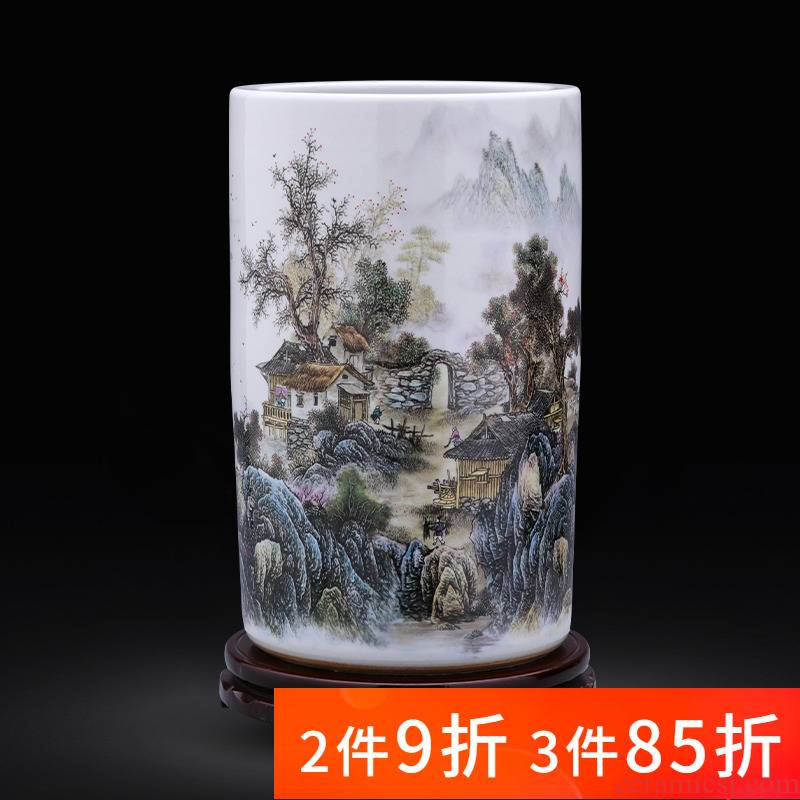 Jingdezhen ceramics quiver vase painting scroll calligraphy and painting receives landing a large sitting room home decoration furnishing articles