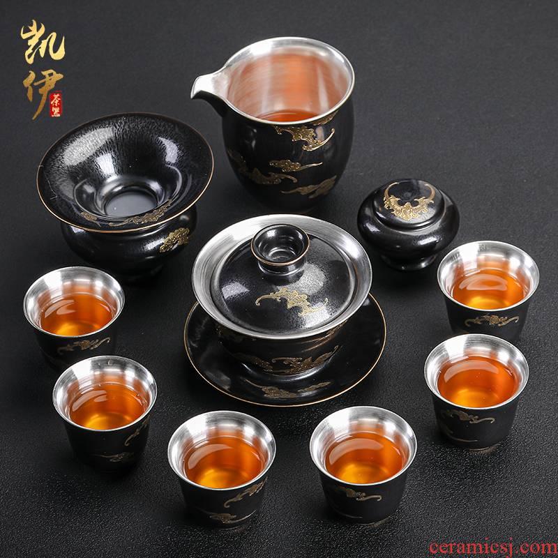 Temmoku coppering. As silver tea set household jingdezhen ceramic kung fu tea tea tureen teapot silver cup