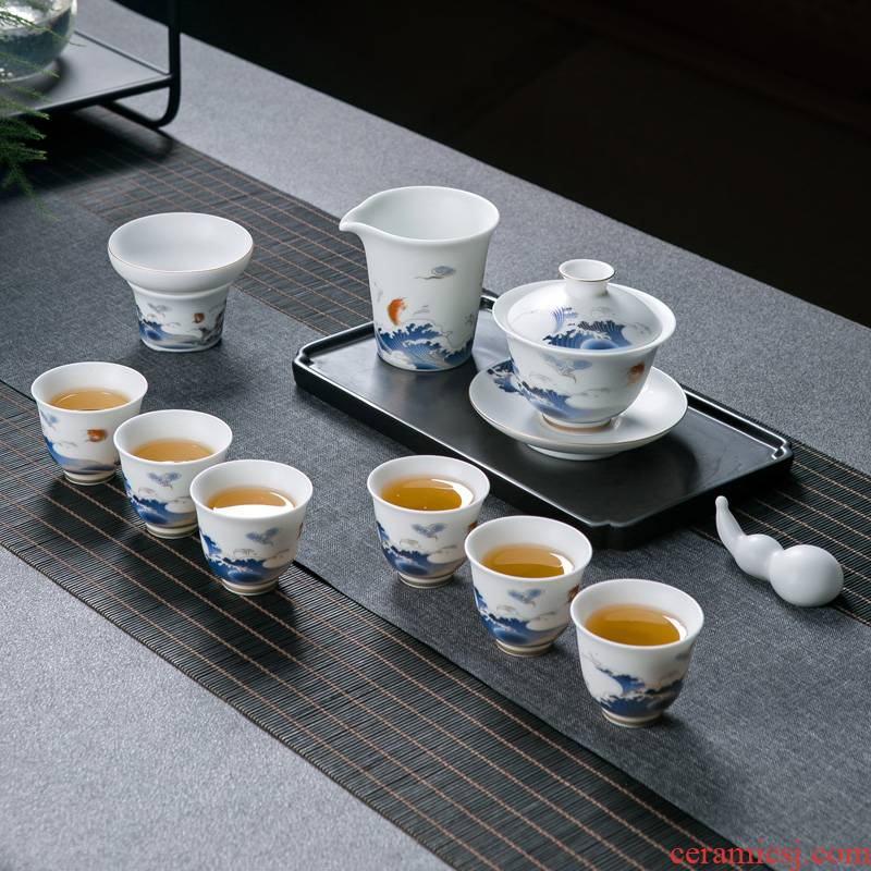 Suet jade white porcelain tea set a visitor home sitting room office of jingdezhen ceramic tea cup of tea