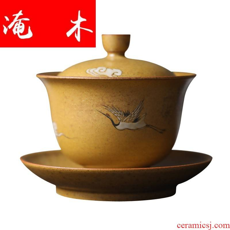 Flooded thick wooden mud - all hand hand - made kung fu tao only three bowls of tureen lid cup cup tea tureen tea cup