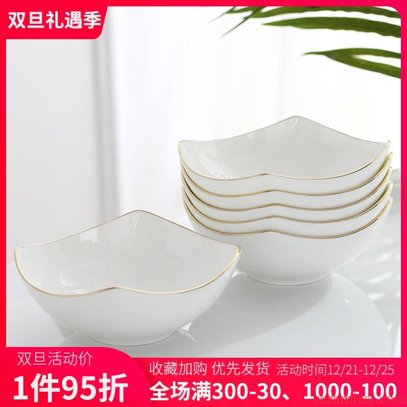 Ceramic bowl suit household Japanese Jin Bianfang creative combination salad bowl bowl large breakfast bowl of ipads China rainbow such use