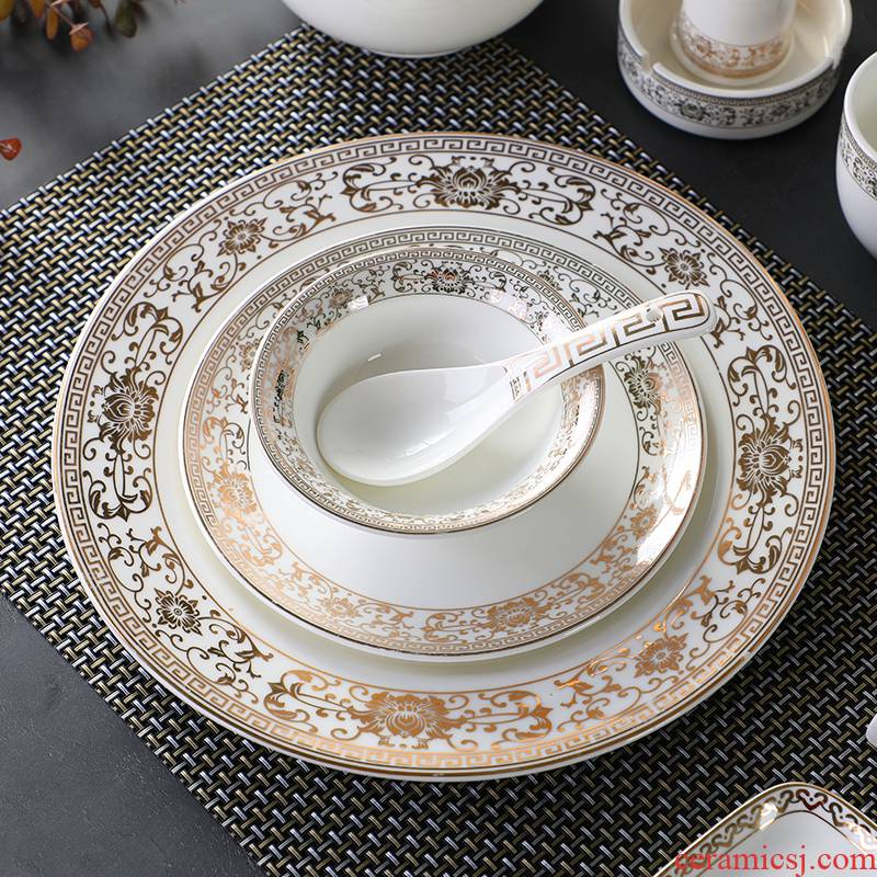 Chinese style key-2 luxury hotels table four - piece hotel restaurant ceramic tableware disinfection yellow up phnom penh thickening package printing