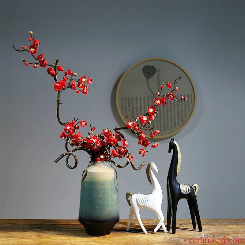 Jingdezhen ceramic vases, modern household, sitting room adornment flower arranging flower implement new Chinese checking ceramic vases, furnishing articles