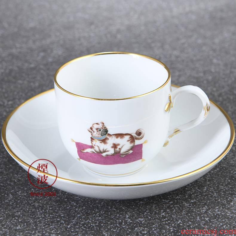 German mason mason meisen porcelain painting bulldog espresso cups and saucers group of afternoon tea cups