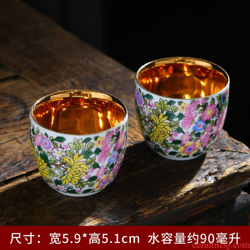 Kung fu master ceramic cups cup Japanese single cup white porcelain sample tea cup of a complete set of pu 'er suet jade small tea light see colour