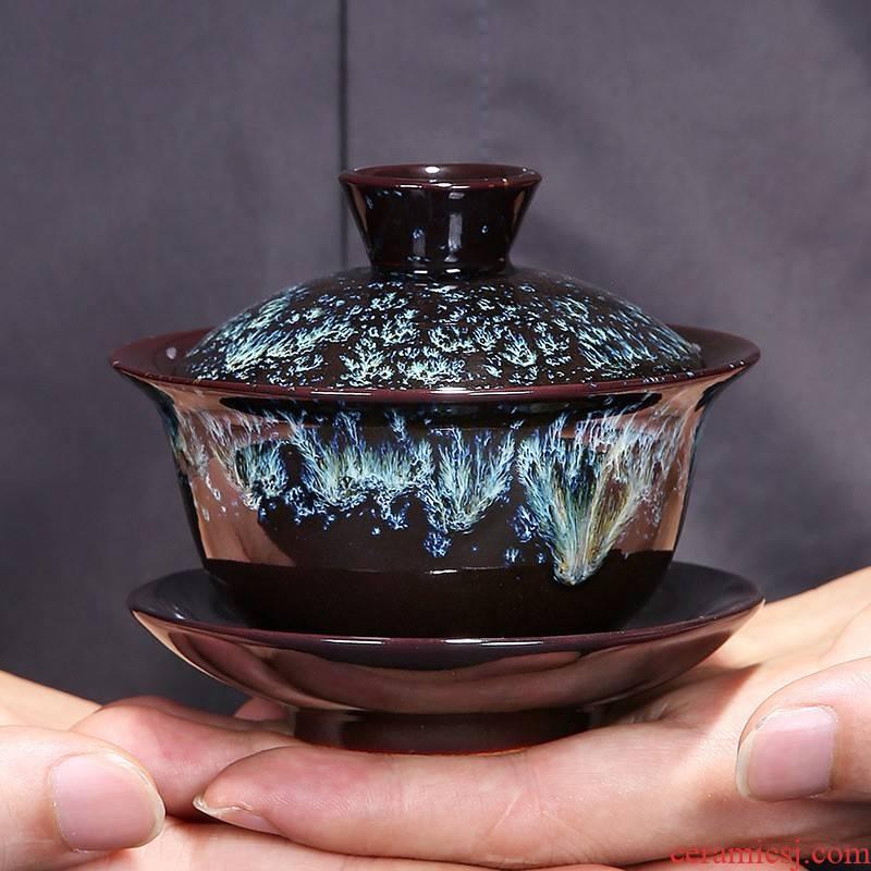 Hui shi in the up built large tureen alluvial gold glaze lamp that kung fu tea set the teapot teacup ceramic tea way with zero