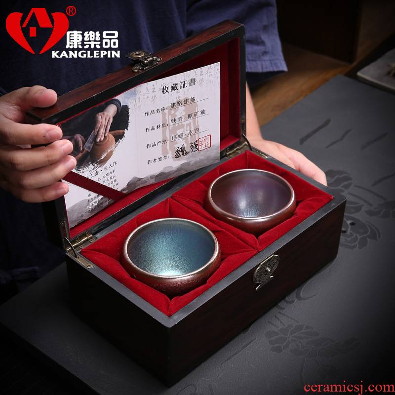 Recreational product jianyang built cloud lamp light undressed ore of pure manual master cup of tea cups, ceramic droplets kung fu tea cups