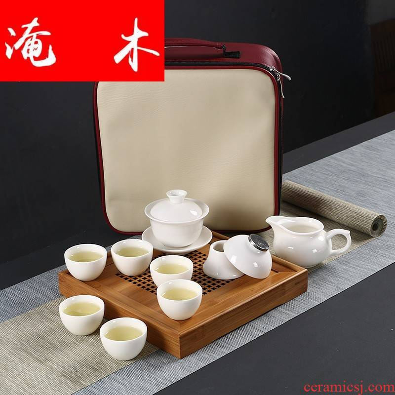 Flooded wooden Japanese dehua white porcelain tureen travel kung fu tea set 6 cups contracted high white porcelain teacup portable