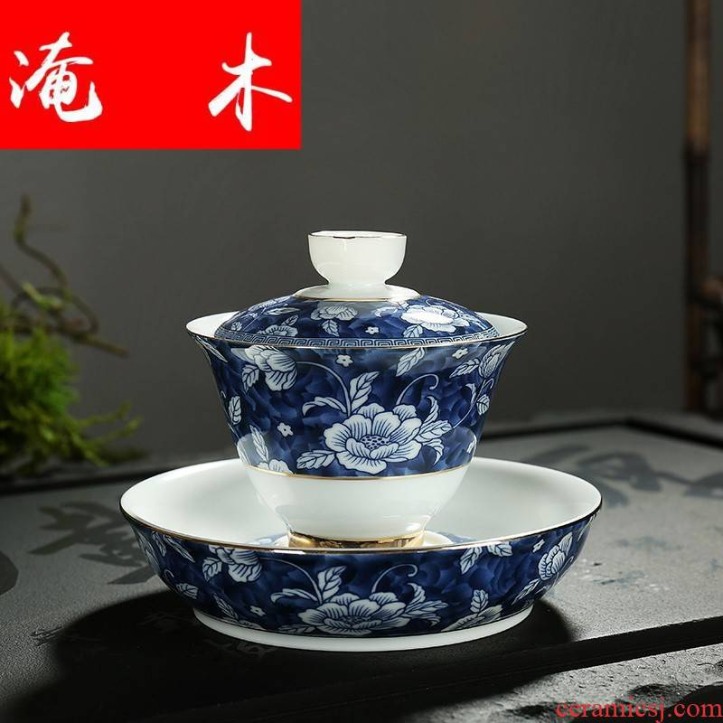 Submerged wood, ceramic famille rose flower is jingdezhen blue and white household tureen colored enamel kung fu tea tea cup three to worship