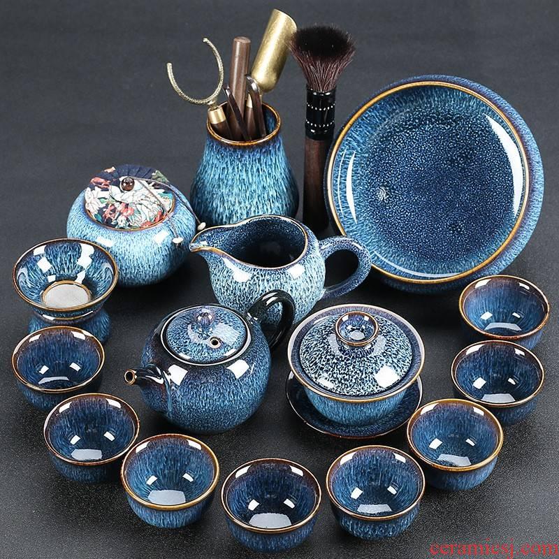 Hui shi up tea teapot konoha blue light kung fu ceramic cups of a complete set of gift set custom undertakes the ritual