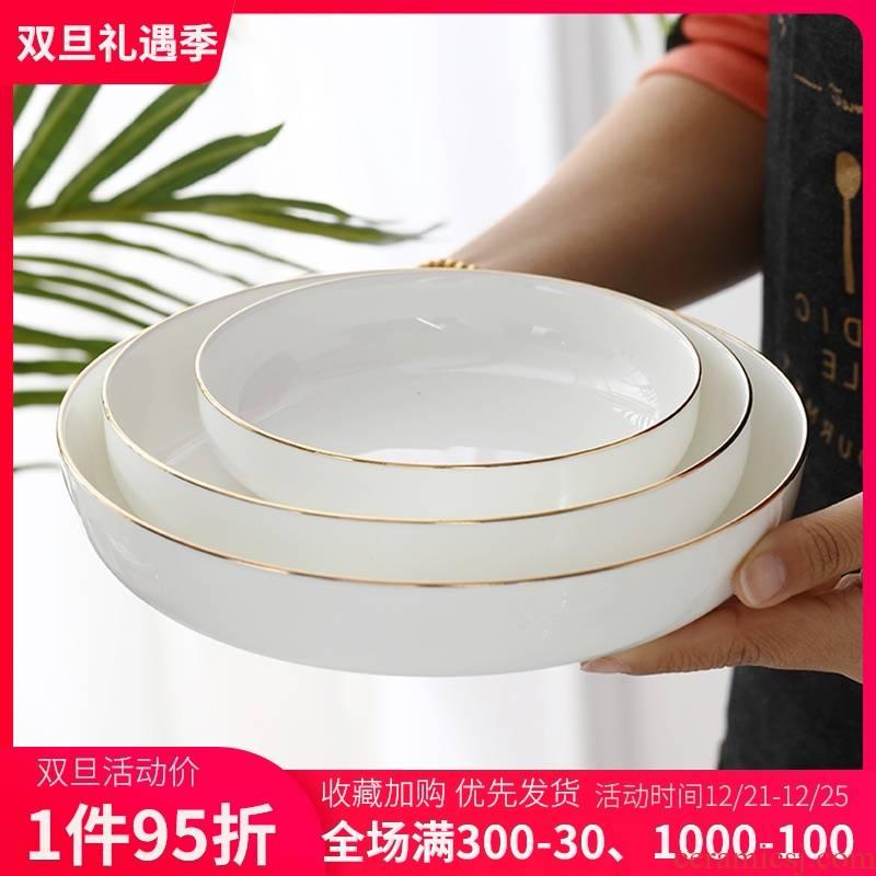 Jingdezhen ceramic creative household deep soup plate rice dish dish up phnom penh plate plate ipads porcelain dishes