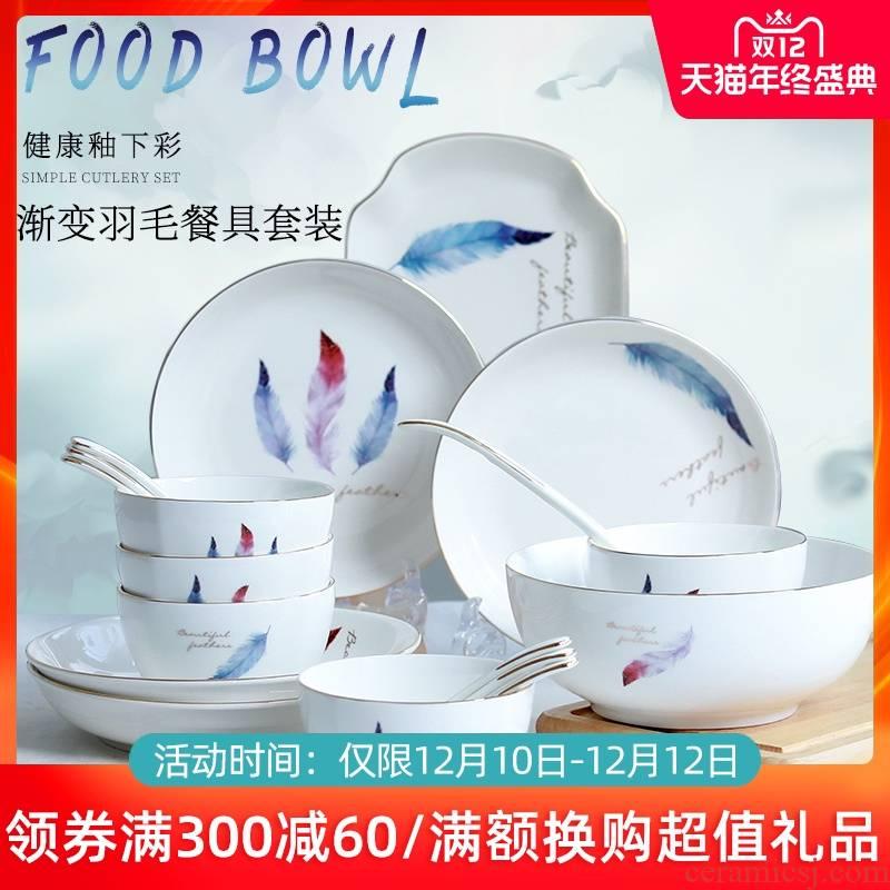 Jingdezhen ceramic dishes suit household 4/6 people ipads porcelain bowl combination contracted eat noodles soup bowl tableware