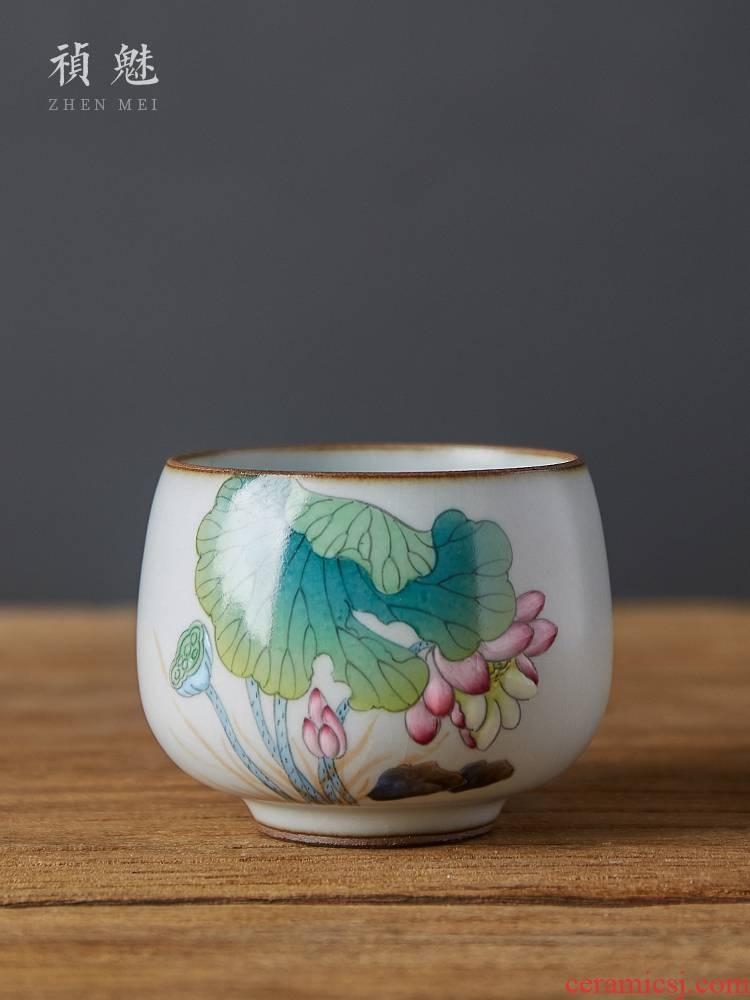 Shot incarnate the jingdezhen ceramic your up hand - made lotus piece of CPU kung fu tea set personal single CPU master cup of tea