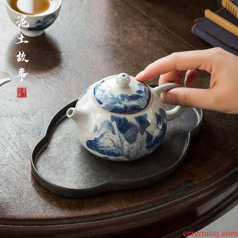 Restoring ancient ways of jingdezhen blue and white glaze color hand - made ceramic teapot xi shi pot of kung fu tea set under household teapot single pot