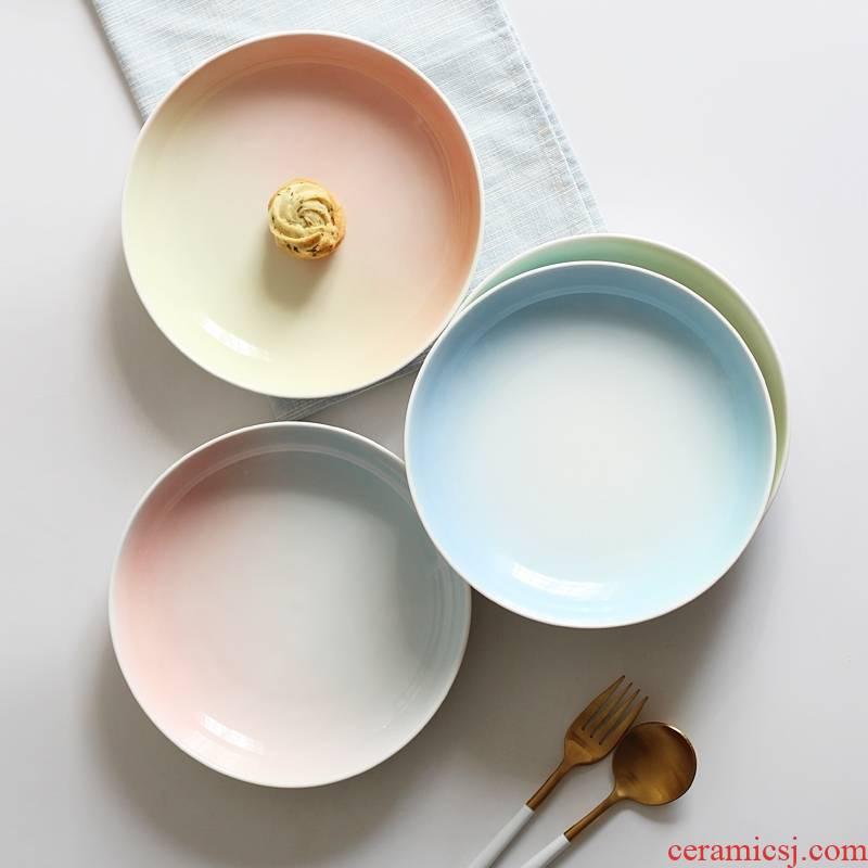 Qiao mu gradient creative steak ceramic plate tray household vegetable dumplings cake plate plate plate western - style food to four
