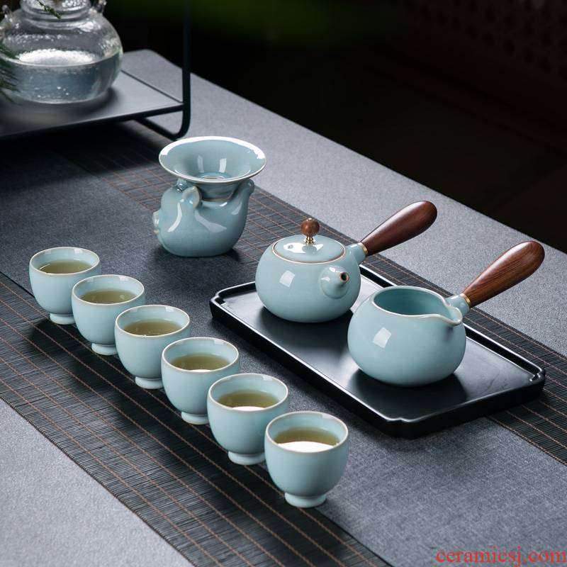 Your up kung fu tea set home sitting room of jingdezhen ceramic ice cracked piece of Your porcelain pot of tea cup side