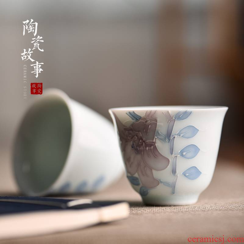 Special small cups white porcelain ceramic sample tea cup personal story kung fu tea cups fragrance - smelling cup, master cup single CPU
